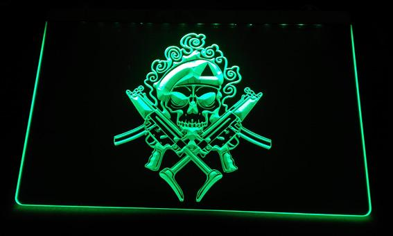 LS2305-g Double gun skull LED Neon Light Sign Decor Free Shipping Dropshipping Wholesale 6 colors to choose