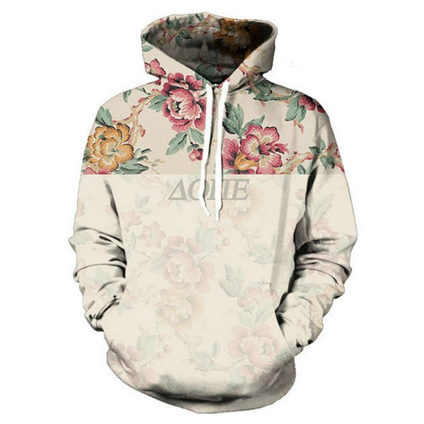 Wholesale- New Fashion Men's 3D Print Hooded Sweatshirts Harajuku Vintage Floral Leisure Hoodie Flowers Graphic Pullover Unisex Sweats Tops