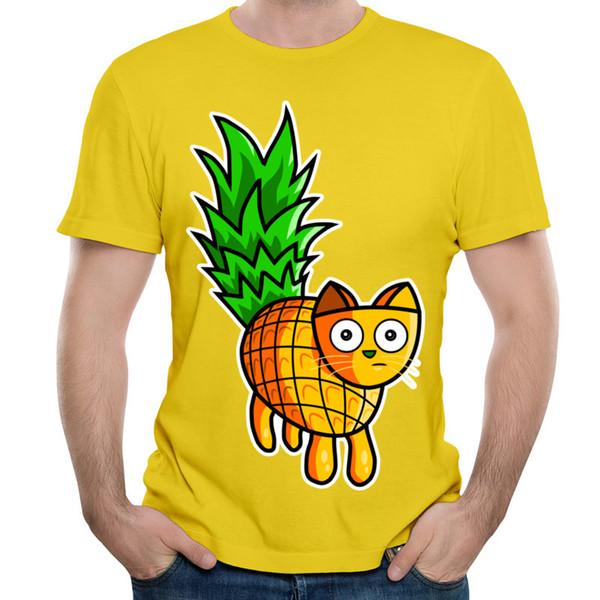f9b0b752 Pineapple Cat Men T Shirt Novelty Design Mens Short-sleeved Tops Yellow  White Male Wholesale