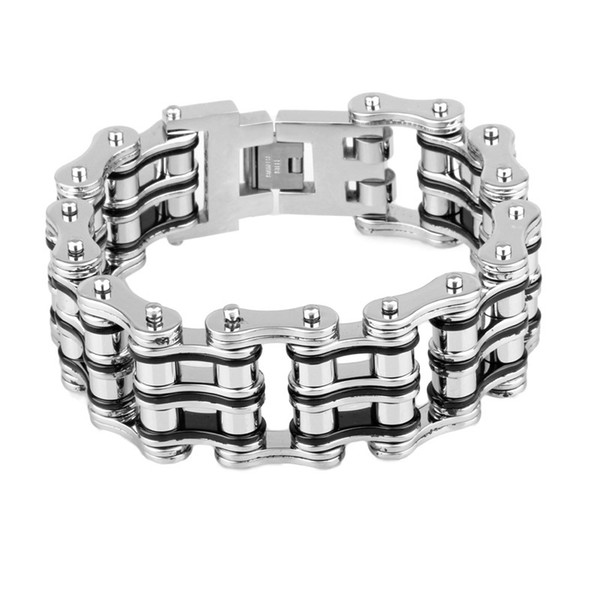 Wide Double Line Bicycle Link Chain Bracelet For Men Silver Black Color Motorcyle Chain Bracelets Stainless Steel Fashion Party Bangles 21mm