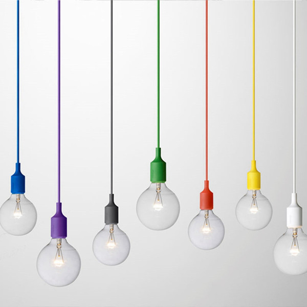 Art Decor Silicone E27 Suspension Plafonnier Ampoule Titulaire Luminaire suspendu Luminaire base Socket Silicone Moderne Rétro Colorful Muuto