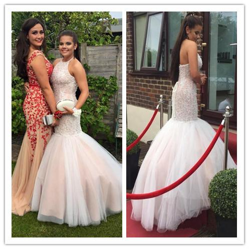 2017 White And Nude Evening Dresses Mermaid With Halter Neck Beading Vestidos De Fiesta Backless Prom Party Gowns with Corset Bandage Back
