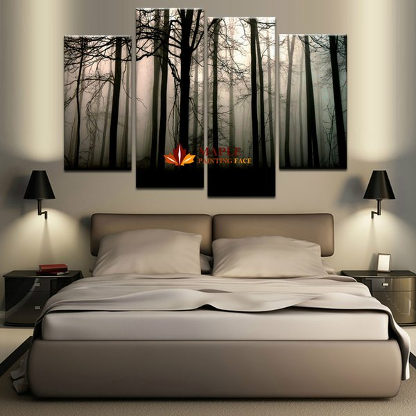 best selling 4 Panel Large Canvas Art Modern Abstract HD Canvas Print Home Decor Wall Art Painting Picture-Dark Forest Landscape