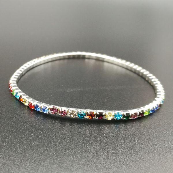1 row silver w/ colored stone