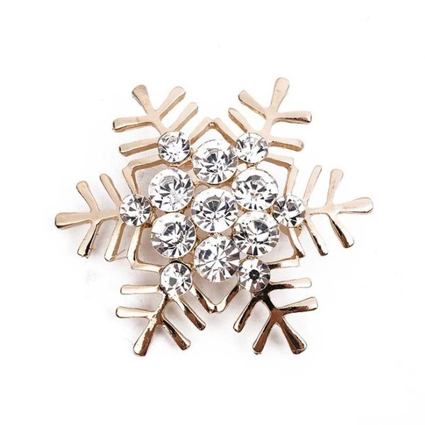 Upscale Korean Style Alloy Crystal Rhinestone Christmas Snowflake Gold Silver Brooch Corsage Christmas Gift Free Shipping