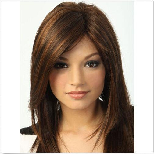 100% New High Quality Fashion Picture full lace wigs Fashion wig New sexy Women's Medium long Dark Brown Straight Natural Hair wigs
