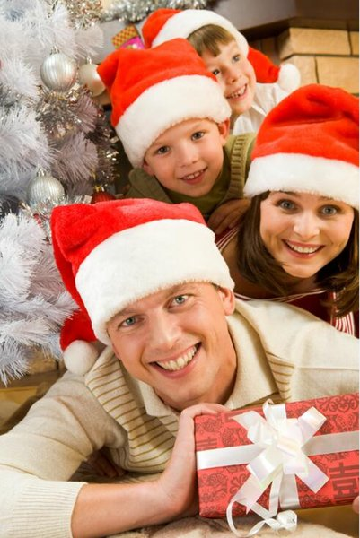 2017 New Christmas Family Hat Hat velluto Christmascap peluche Babbo Natale rosso e bianco forniture per feste cappello Big Size Santa cap 40 * 26cm