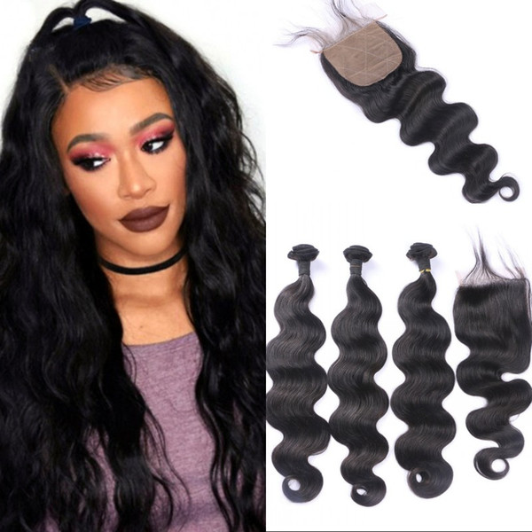 Mongolian human hair wefts with silk based closure body wave bundles hair with closure 4 pieces FDSHINE