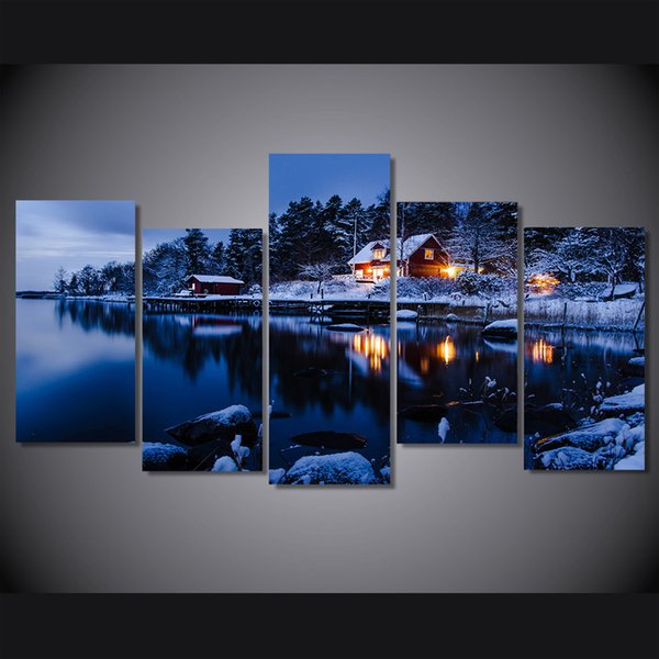 5 Pcs/Set Framed HD Printed Snow lake scenery night Group Painting room decor print poster picture canvas Free shipping/ny-715