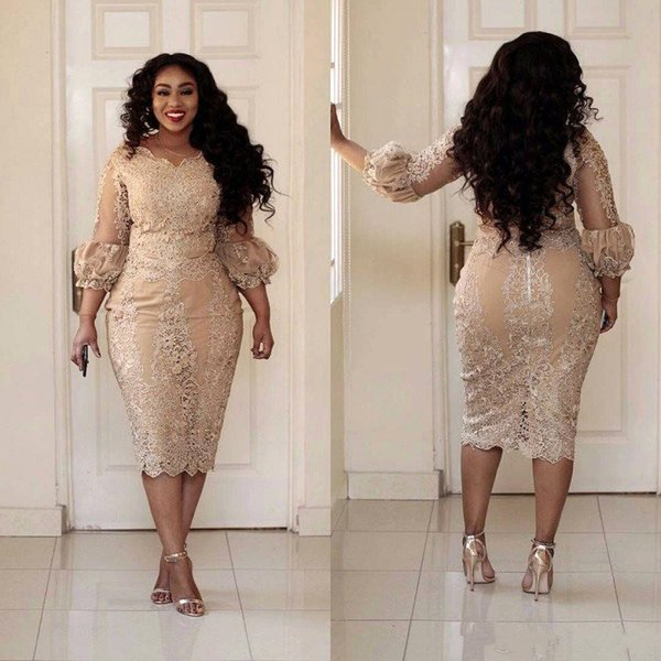 Tea Length Plus Size Prom Dresses champagne Lace Beaded Sheath Evening Party Gowns V-neck 3/4 Puffy Sleeves