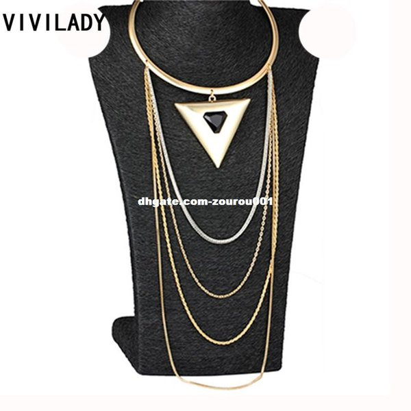 VIVILADY Vintage Resin Stone Alloy Triangle Chokers Bib Maxi Necklaces Layers Metal Chain Body African Jewelry Women Accessories