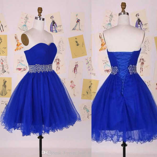 top popular Royal Blue Sweetheart Sleeveless Prom Evening Gowns Tulle Cocktail Girls Party Dresses Short Dress Lace-up With Sequins Crystals Waist 2019