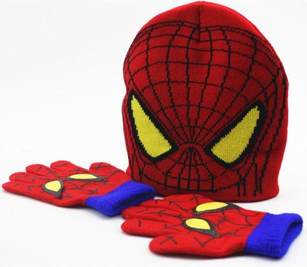 Children Beanies Cap Hats Sets Spider Man Knitted Crochet Baby Boys Girls Cartoon Kids Winter Warm Gloves Fashion Accessory XMAS Gifts