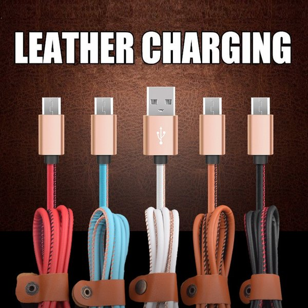 PU leather Fast Charger 1m 3ft Aluminum Alloy Micro V8 5pin usb data charging cable for samsung s6 s7 edge htc lg android phone key chain