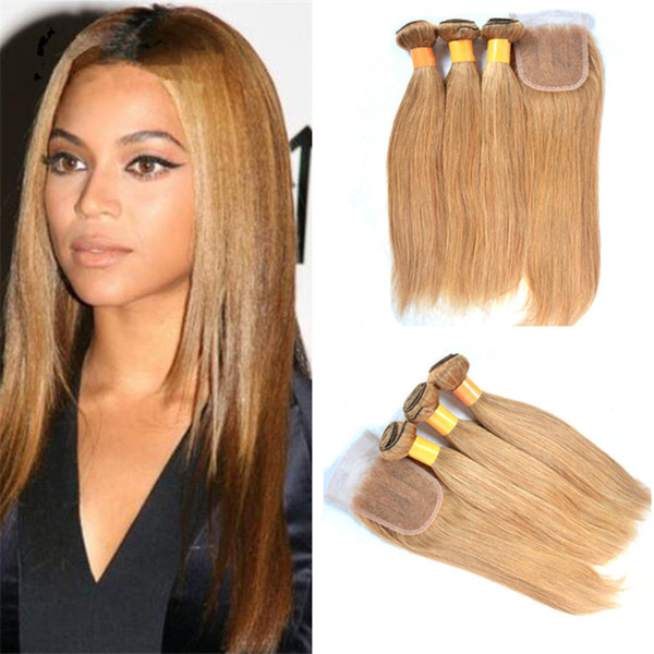 Honey Blonde Straight Lace Closure With Hair Bundles Color #27 Brazilian Blonde Virgin Hair Weaves With 4*4 Top Closure 4Pcs Lot