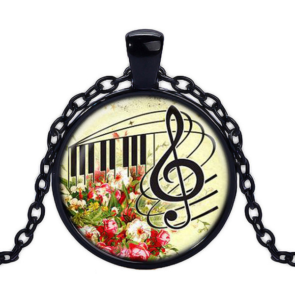 2017 hot sale Vintage glass handmade pendant colorful Music flower necklaces Art Photo piano note necklace Jewelry