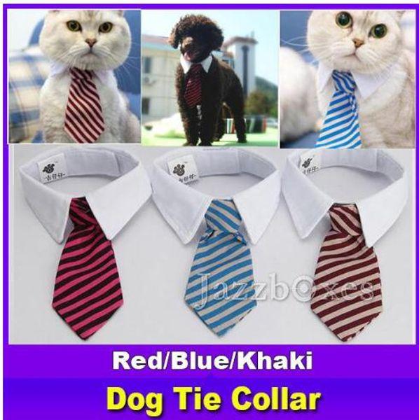 Nouveau chien de compagnie rayé cravate collier chat arc mignon chien cravate mariage réglable chiot rouge / bleu / kaki livraison gratuite