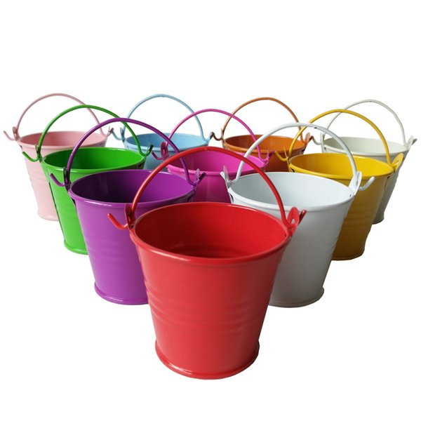 D6*H5CM Cheap candy colorful Metal mini Pail Tin bucket Rustic Succlents Pots Decorative Galvanized Iron pots Party Favor