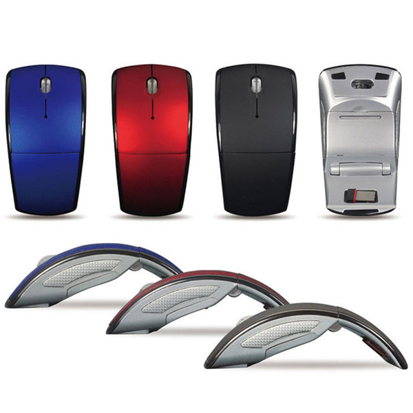 best selling High Quality Foldable Folding 2.4G 3 Buttons Wireless Touch Optical Mouse Mice ARC Shaped Moon Style USB