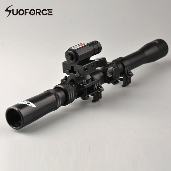 3-7X20 Tactical Airsoft Zielfernrohr-Luftgewehrkreuz Absehen mit 11mm Schienenmontage Red Dot Laser Sight für Jagd-Armbrust