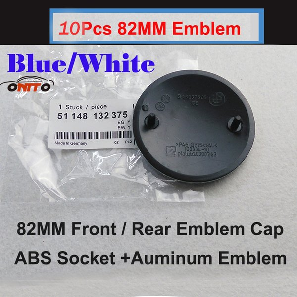 Hot car emblem black base 10pcs 82MM Auto Head Hood Logo Cap Blue White Tail Boot Badge Rear Trunk Label Car Front Emblem Cover