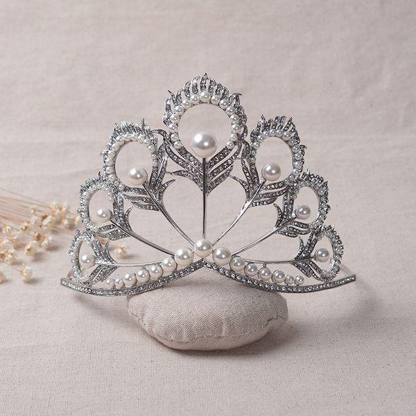Euramerican Vintage Wedding Bridal Crystal Rhinestone Pearl Silver Big Crown Headband Hairband Tiaras Hair Accessories Jewelry Drop Shipping