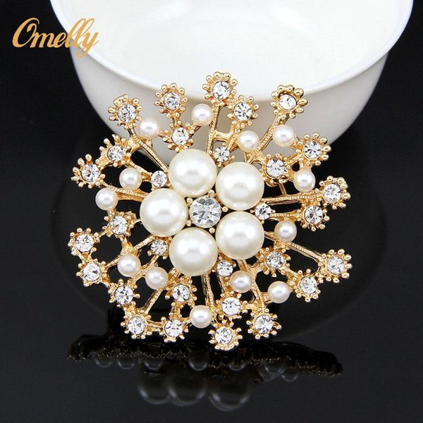 Elegant Vintage 18K Gold Filled Silver Tone Faux Pearl Crystal Flower Pin Brooch Wedding Costume Jewelry Broach