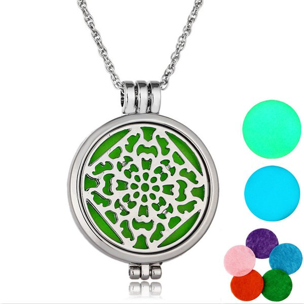 1Pcs Oil Perfume Diffuser Locket Pendant Women Girls Necklace With 2pcs Luminous Pads And 5 Pads Wedding Gift For Bride free shipping