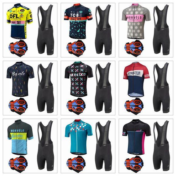 2017 Morvelo Ciclismo Jerseys Mangas Curtas Roupas de Ciclismo Kit Com 9D Gel Acolchoado Shorts Hombre Corrida Mtb Bicicleta Esporte Secagem Rápida Ropa Ciclismo
