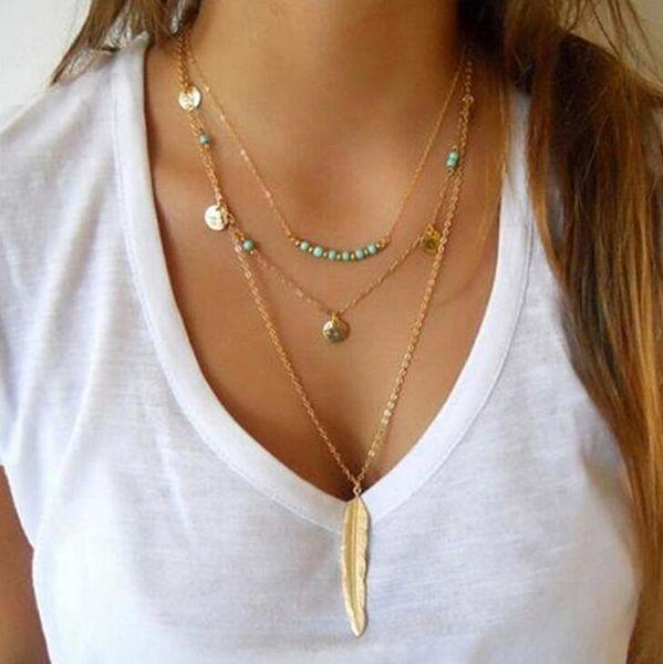 10 pçs / lote moda verão estilo jóias mulheres multicamada colar de penas rodada lantejoulas charme pingente de turquesa colar de ouro / prata