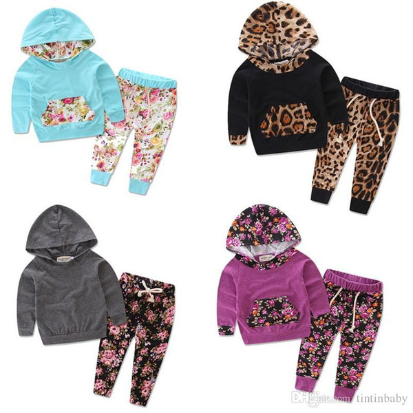 Newborn 2017 New Cute Baby Leopard Flower Clothing kids Infant Boys Girls Clothes Hooded Tops + Pants Sets 0-3T