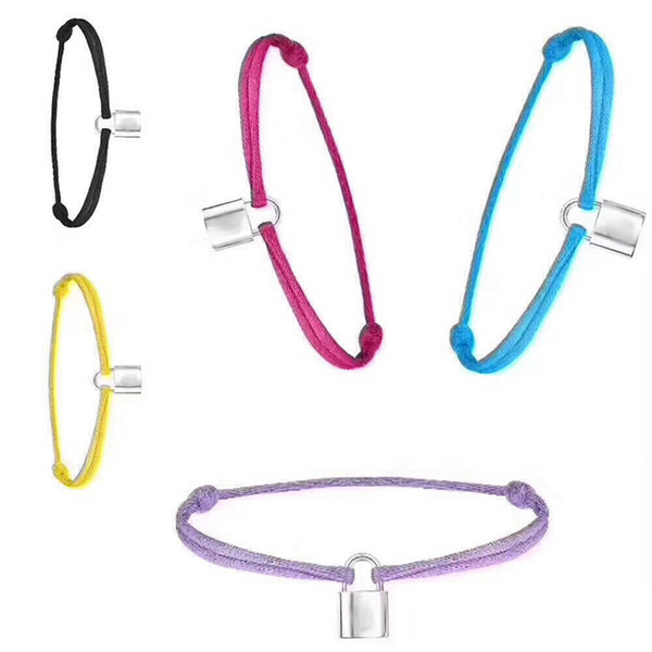 best selling New Brand Women Lover Bangle Handmade Adjustable Rope Chain Bracelet Charm Lock Pendant Titanium Stainless Steel for gift With letter