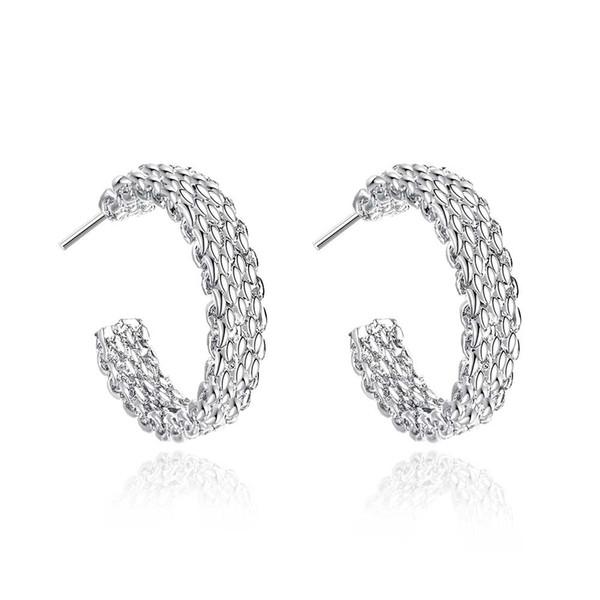 Weinlese 925 versilbert Mesh-Ketten Kreise Ohrringe Damen Eardrop Schmuck Hoop Damen Party Ohrringe Top Verkauf