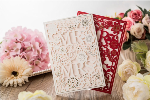White Red color European designs Wedding supplier wedding invitation personalization wed card creative wedding invites DHL free shipping