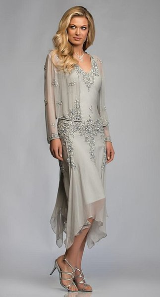 Gorgeous Silver Grey Chiffon Appliques Lace Tea Length Mother Of The Bride Dresses With Jacket Suits Deep V-neck For Weddings