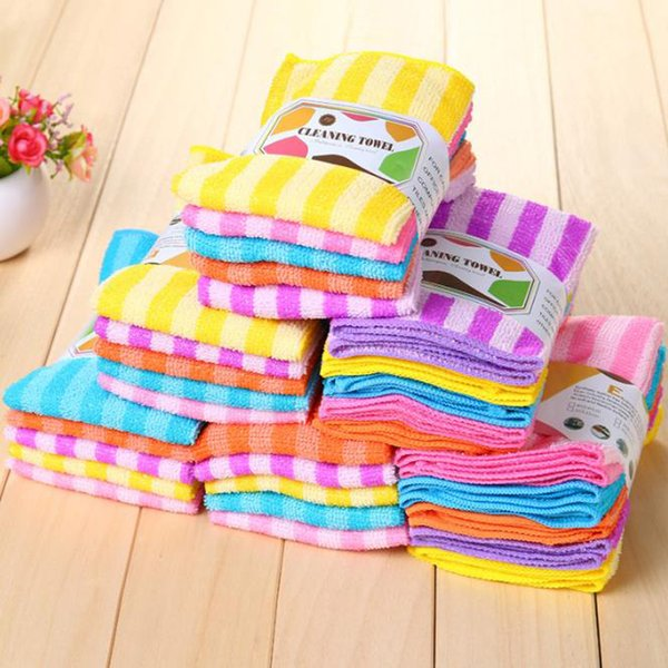 5pcs/lot High Efficient Anti-grease Color Dish Cloth Fiber Washing Towel Magic Kitchen Cleaning Wiping Rags Wholesale