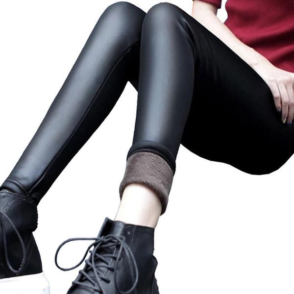 Plus Size S-XXXL Nero Donna Velluto caldo Leggings Autunno-Inverno Moda ecopelle a vita media Legging Velluto Leggings Donna