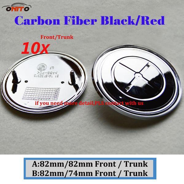 10Pcs 82MM 74MM Auto Head Hood Logo Cap Rear Boot Badge Tail Trunk Label Carbon Fiber Black Red Car Front Bonnet Emblem Cover