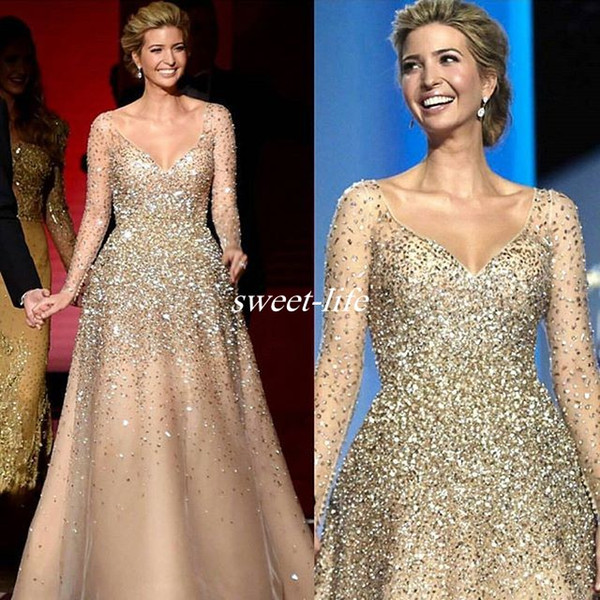 best selling Ivanka Trump Inaugural Celebrity Dresses 2019 Champagne Crystals Princess Ball Gown Tulle Nude Fashion Evening Gowns Prom Dress