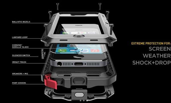 For iPhone X Waterproof Case for iPhone 4 4s 5 5s 5c 6 6s 4.7 plus Shockproof Power Aluminum Gorilla Glass Protect Phone Cover