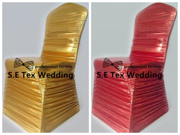 30pcs Lot Ruffled Bronzing Coated Spandex Chair Cover \ Banquet Wedding Chair Cover Wholesale Price