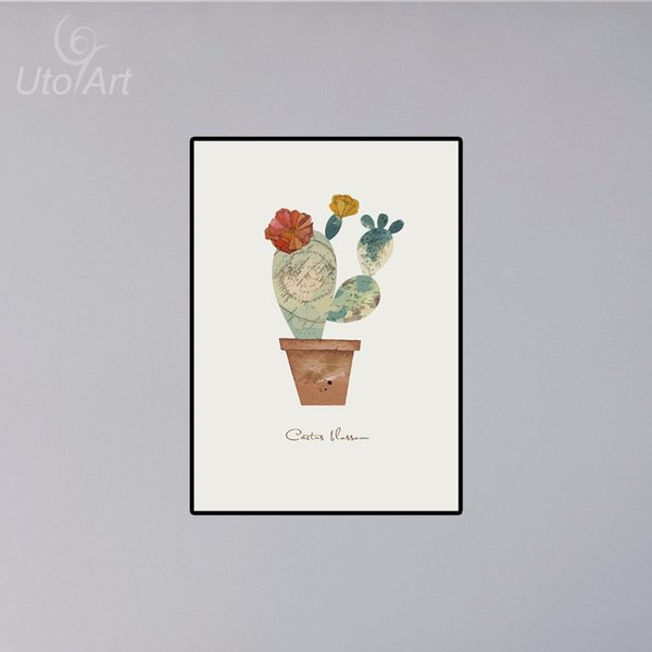 1PCS Unframed Impression Leafy Cactus Wall Painting Green Cactus Printed Canvas Painting Wall Art Home Decoration Dining Room