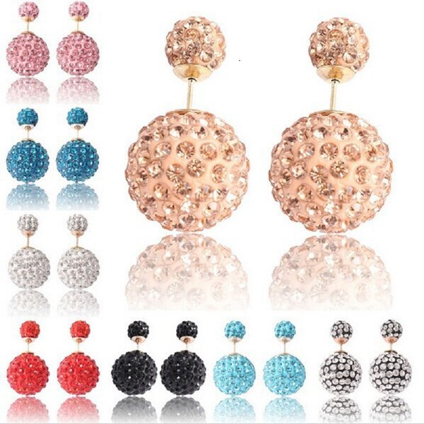 Luxury Crystal double side earring Front and back ball both side 16mm & 8mm fashion earring jewelry for girls