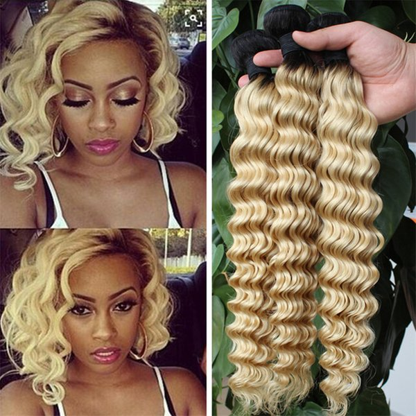 Indian Virgin Hair Deep Wave Ombre Human Hair Extensions 3Pcs Lot Two Tone 1B 613 Blonde Ombre Curly Hair Bundles