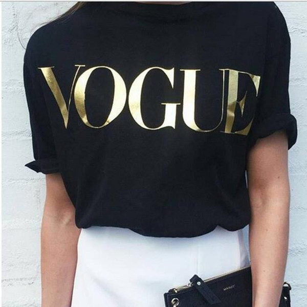 Wholesale- famous Brand design T Shirt for Women VOGUE Printed T-shirt Women Tops Tee Shirt Female New Arrivals Hot Sale Casual letter