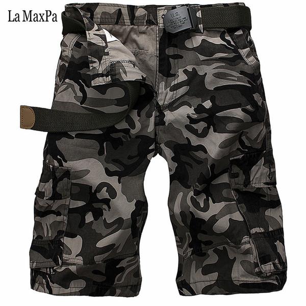 Atacado- La MaxPa 2017 nova marca moda homens calças de carga curta slim fit verão solto plus size homem casual calças de camuflagem