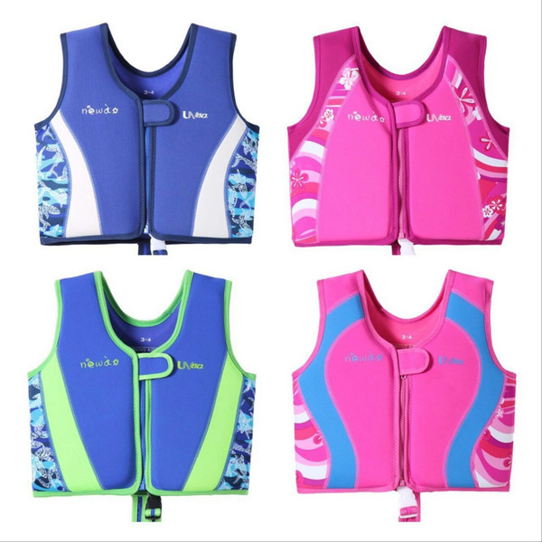 top popular baby swim jacket neoprene boys and girls swim life jacket vest for toddlers swimming aid float device for children 1-12years 4 colors 2019