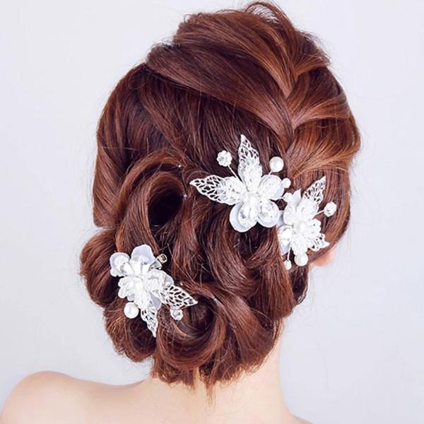 Kore el yapımı çiçek yaprakları gelin saç klipleri takı kadınlar ve kızlar için beyaz rhinestones düğün hiar aksesuarları