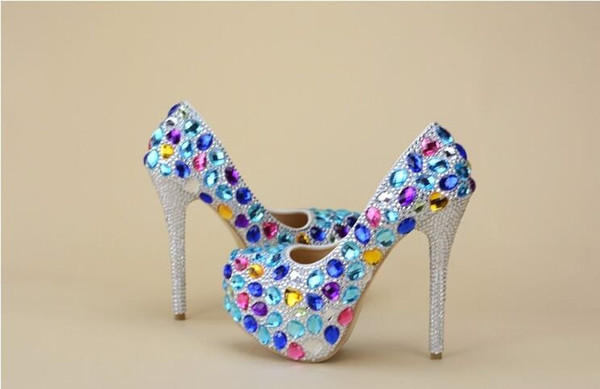 Luxury Cinderella Shoes Silver Beading and Colorful Gems Rhinestones High Heels Prom Evening Shoes Bridal Bridesmaid Wedding Shoes 043