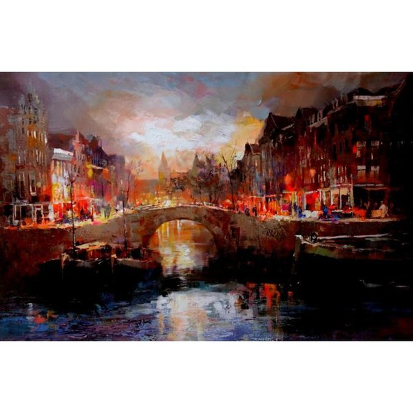 Landscapes oil Paintings City Amsterdam modern art Willem Haenraets canvas for room decor Hand painted